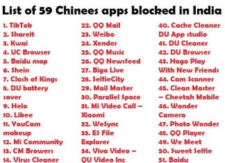 List of 59 Chinees apps ban in India